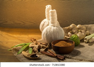Thai herbs and spa massage, Nature medicine, Herbals ingredient such as cinnamon stick, turmeric, bergamot and dried mangosteen powder.