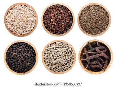 Thai herbs spices on a white background.