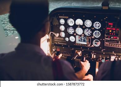 Thai High School students learning at fixed base flight simulator