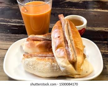 Thai hot milk tea and Vietnamese bread the breakfast in the morning
