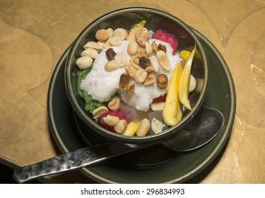 Thai ice cream dessert Close up.