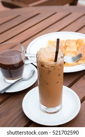 Thai ice tea with milk and hot chocolate