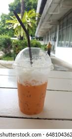 Thai Iced Tea with caramel on the table