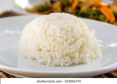 Thai jasmine cooked rice on plate