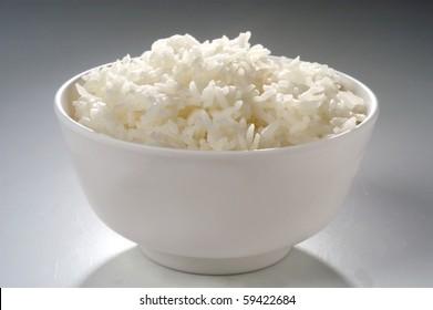 Thai jasmine rice on bowl studio shot