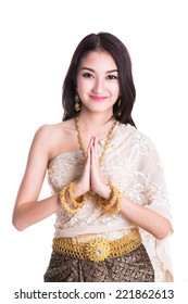 Thai Lady in vintage original Thailand attire Sawasdee action (welcome in thai style)