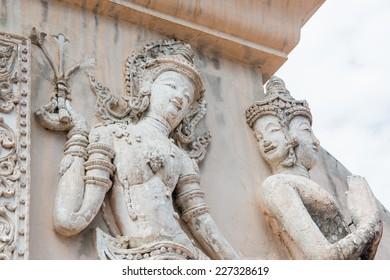 Thai Lanna molding art on the wall, Thailand