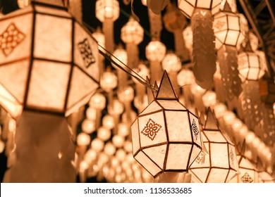 Thai lanterns at night