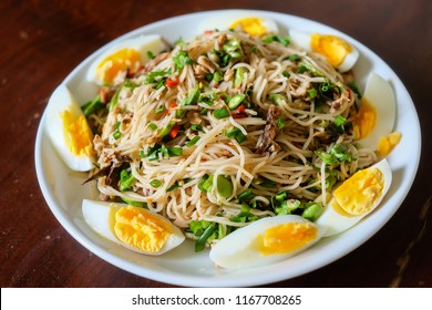 Thai local street food which is rice vermicelli spicy salad seasoning with fermented fish sauce
