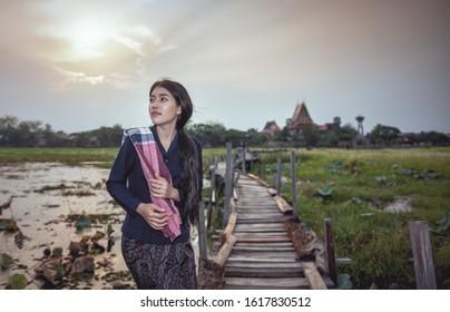 Thai local woman working, Thailand