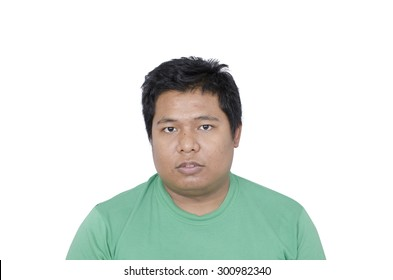 Thai man face on white background