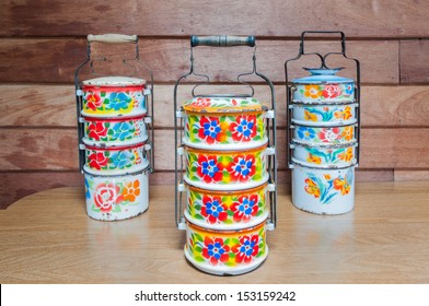Thai metal tiffin, Food Containers with thai painting