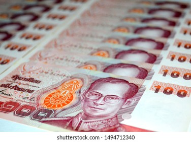 Thai money 100 baht.Thai bank note background.Money background with thai hundred baht . Business concept, finance.Thai Banknotes.