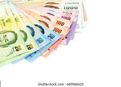 Thai money currency as background, Various of Thai currency banknotes isolated on white background use for background or saving money concept.