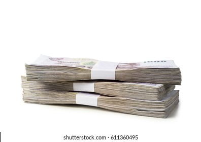 Thai money isolated on white background with clipping path
