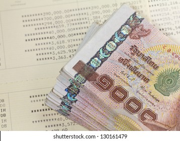Thai money on Saving Account Passbook