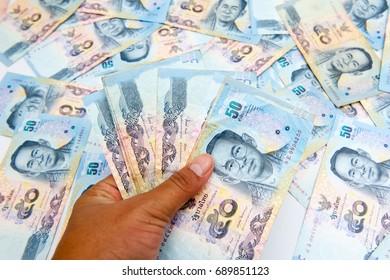 Thai money, which took a beautiful arrangement, 50 bath.