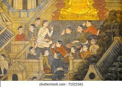 Thai mural in Wat Pho temple, Bangkok, Thailand. It depicts Thai living in the past. This mural is public domain, And Wat Pho temple is opened and allow for visiting tourists.
