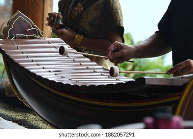 The Thai musician with traditional Thai musical instruments