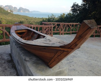 Thai old boat on public park, andaman view point, samed nangshe, phangnga bay, thailand