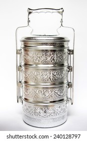 Thai old silver carrier tiffin, usually give food offerings to a Buddhist monk at temple