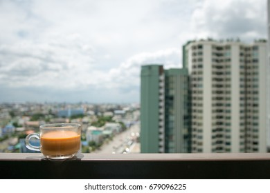Thai orange milk tea at breakfast time in rest day for relaxation