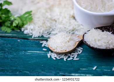 Thai organic rice on vintage green table space