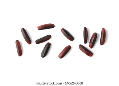 Thai organic riceberry rice isolated on white background.Closeup.