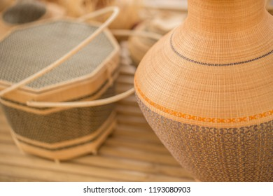 Thai OTOP product from dry Hygaliepa grass weave as basketry.