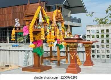 Thai outdoor spirit house shrine.Thai tradition