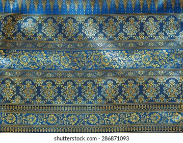 Thai painting on cloth fabric blue color.