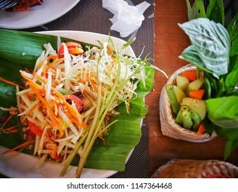 Thai papaya salad, Som Tum is popular thai food.