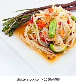 Thai papaya salad or Som Tum (traditional and modern thai food)