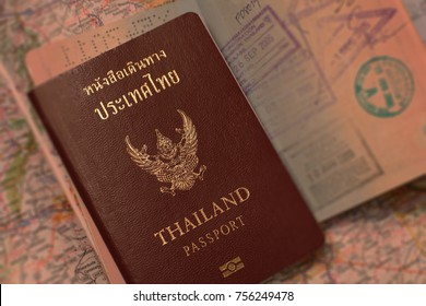 Thai passport stamps as background