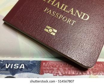 Thai passport and US visa.