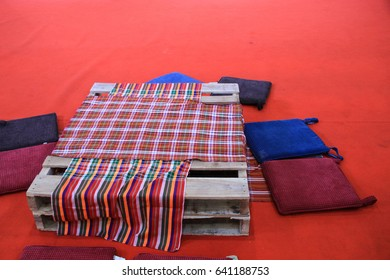 thai pattern fabric red table on the floor dinning