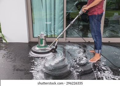 Thai People Cleaning Black Granite Floor Stock Photo Edit Now