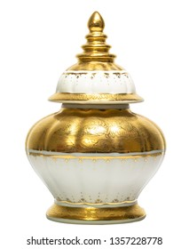 Thai porcelain benjarong ceramic vase with lid. Benjarong ware is a kind of painted Thai ceramics porcelain, isolated on white background with clipping path
