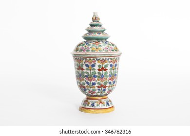 Thai porcelain in five colours on white background