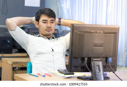 Thai Portrait of men with failure in the job on Computer monitor.
