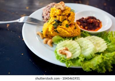 Thai Pumpkin hummus with salad in vegan restaurant in Bangkok