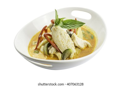 thai red curry chicken with thai pea aubergine and sweet basil
