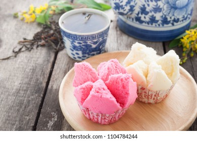 Thai Rice Flour Muffin or thai sponge cake is Thailand dessert.