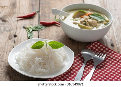 Thai rice vermicelli with green curry chicken , Thai cuisine