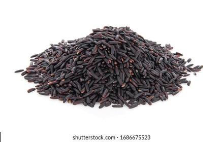 Thai Riceberry rice isolate on white background