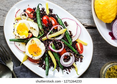 Thai Riceberry with Soft Boiled Egg,Green beans,Cherry Tomato and Radish Salad with Wholegrain Mustard Lemon Vinaigrette