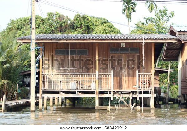 Thai river side traditional house.
