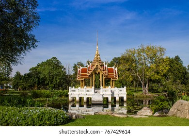 Thai Royal Pavilion in a lotus pond in King Rama IX Park,Bangkok,Thailand