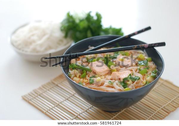 Thai salmon noodle soup