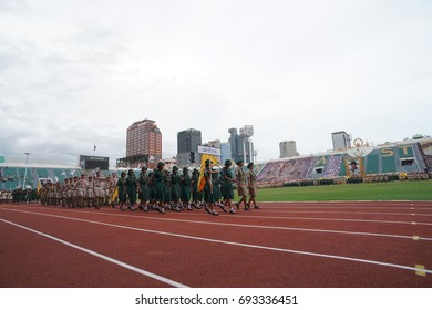 Thai scouts parade at Supachalasai National Stadium.Thailand July 1, 2017 Anniversary Day National Scout Council At Supachalasai Stadium National Stadium.